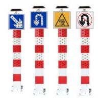 太原路口安全警示灯 太阳能交通警示柱 靠右行驶标志牌